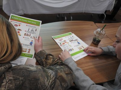 Students review a healthy meal plan