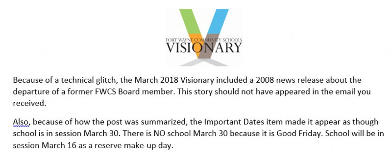 March Visionary correction